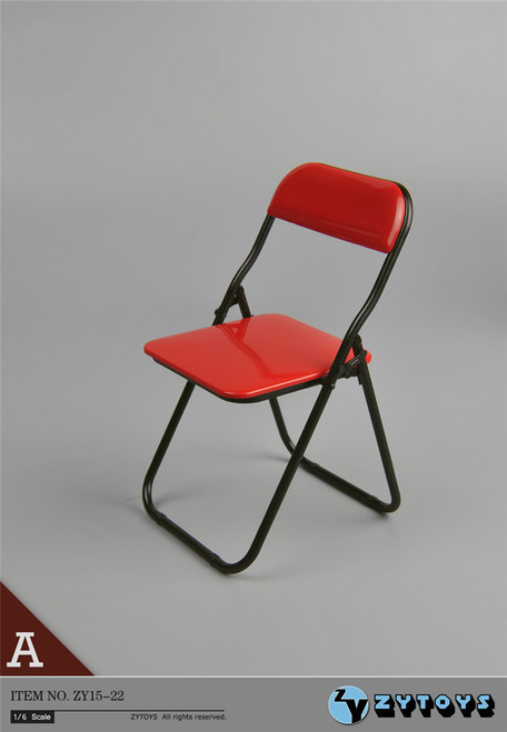 [ZY-15-22A] ZY Toys Folding Chair in Red 1:6 Scale Furniture