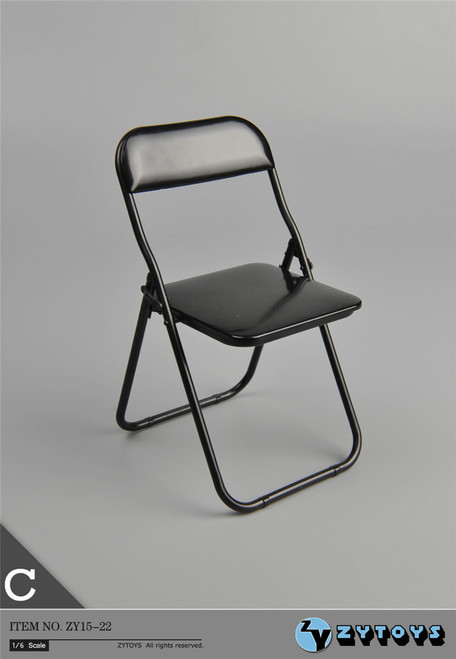 [ZY-15-22C] ZY Toys Folding Chair in Black 1:6 Scale Furniture