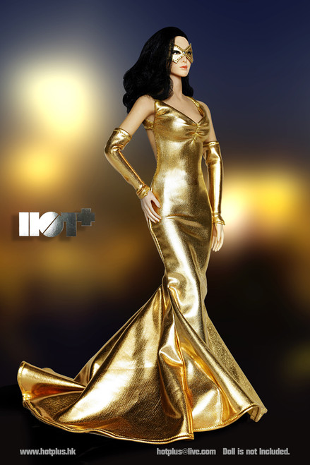 [HP-022] HotPlus Shimmering Evening Dress in Golden 1:6 Female Figure Accessory