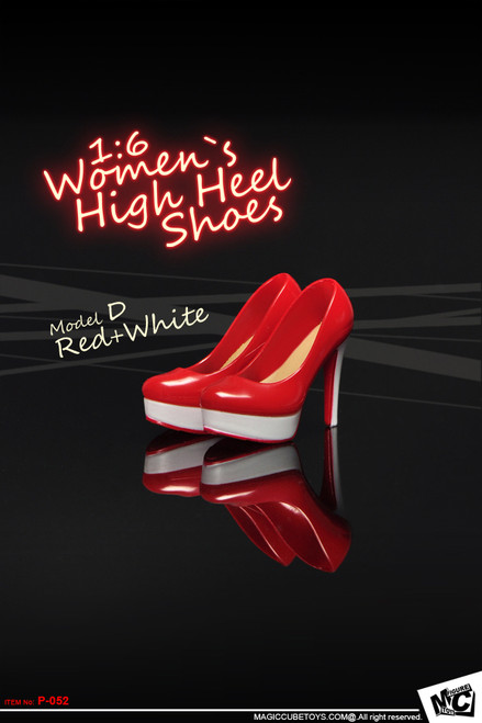 [MC-P052D] MC Toys 1:6 Scale Women`s High Heel Shoes in Red & White