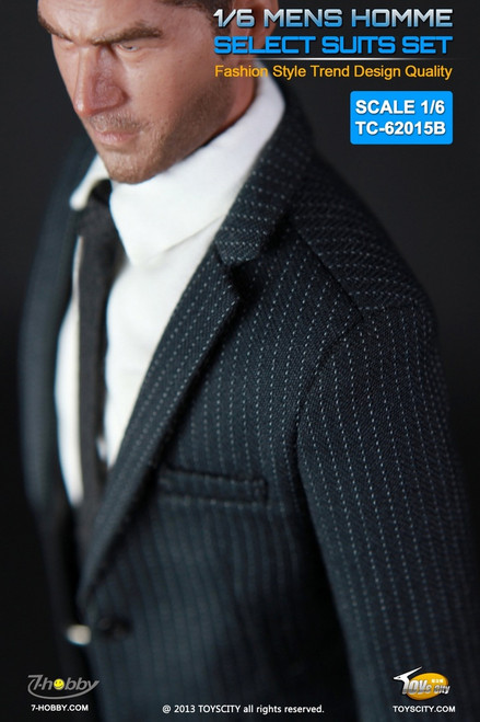 [TC-62015B] TOYSCITY 1/6 Mens Homme Select Suits Set in Black with Stripes