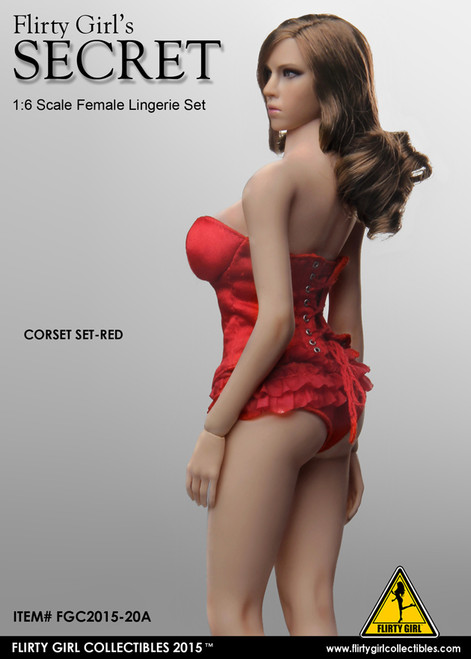 [FGC-2015-20A] 1:6 Flirty Girl Female Figures Corset Lingerie Set in Red