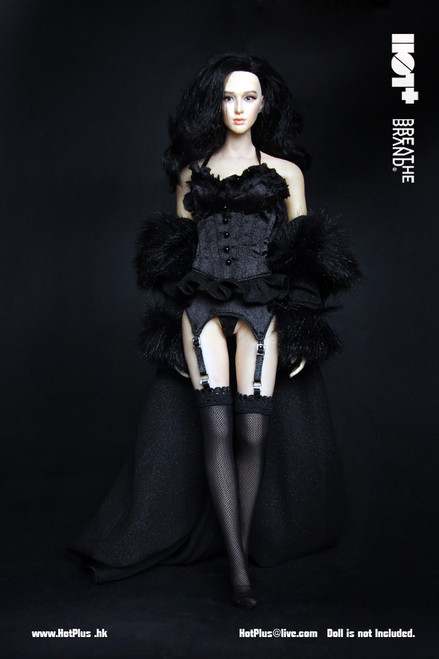 [HP-024] HotPlus Black Evening Lingerie & Night Robe for 1:6 Figure Accessory