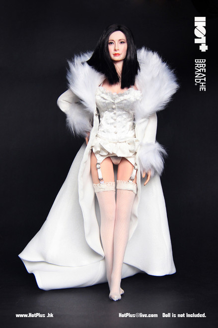 [HP-025] HotPlus White Evening Lingerie & Night Robe for 1:6 Figure Accessory