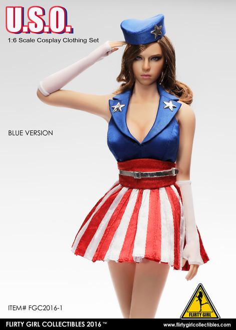 [FGC-2016-1] 1:6 Flirty Girl U.S.O. Cosplay Female Figure Clothing Set in Blue