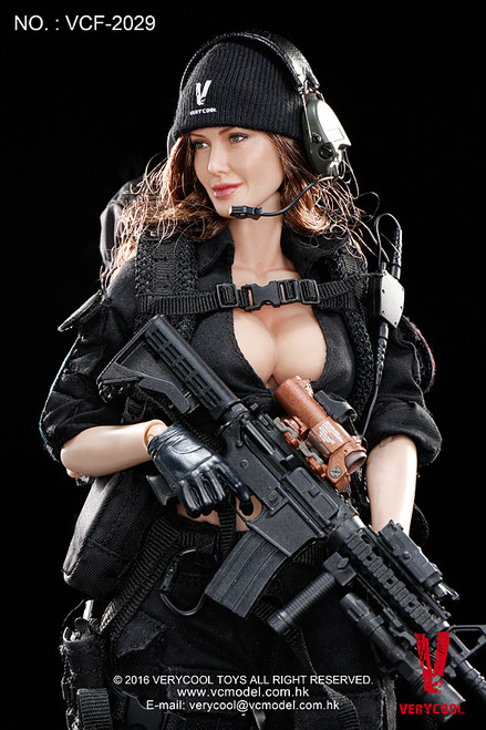 [VCF-2029] Very Cool Female Shooter Black Version 1:6 Boxed Figure