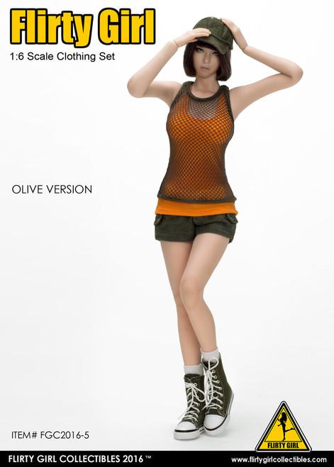[FGC-2016-5] 1:6 Flirty Girl's Combat Short Fashion Clothing Set in Olive