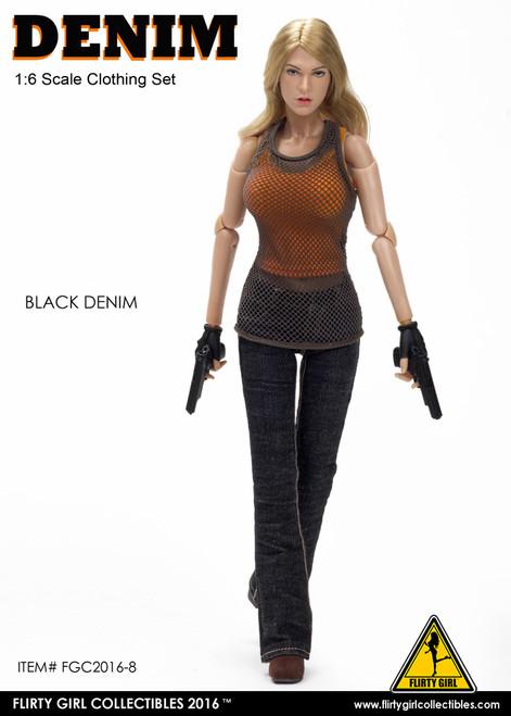 [FGC-2016-8] 1:6 Flirty Girl's Denim Fashion Clothing Set in Black