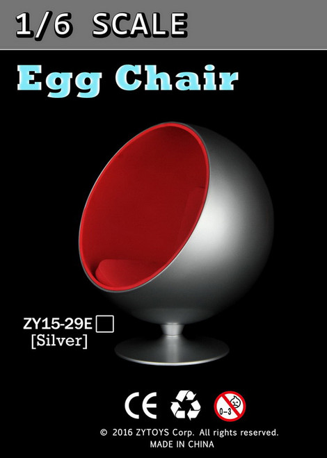 [ZY-15-29E] ZY Toys 1:6 Action Figure Egg Chair in Sliver