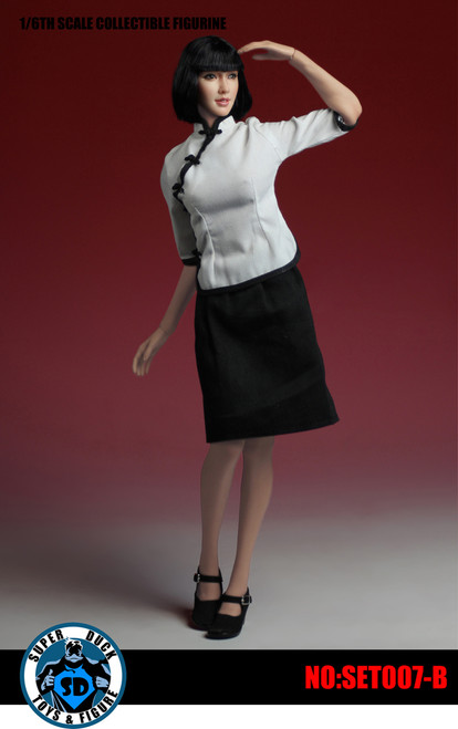 [SUD-SET007B] Super Duck 1:6 Chinese Student Uniform with Head in White