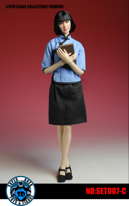 [SUD-SET007C] Super Duck 1:6 Chinese Student Uniform with Head in Blue
