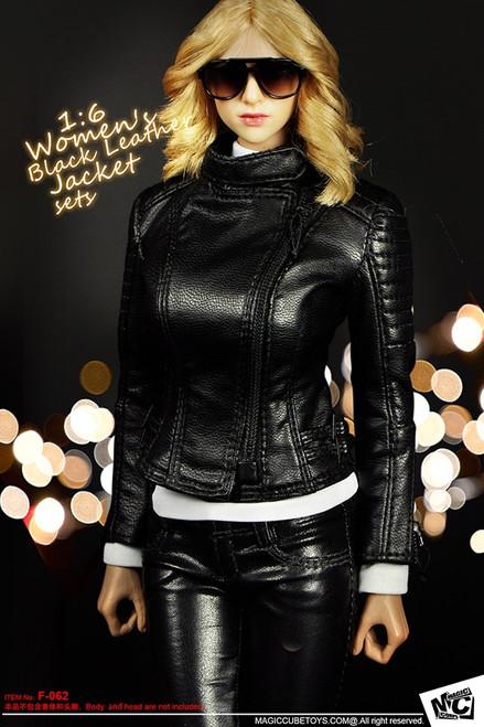 [MC-F062] MC Toys Women's Black Leather Jacket Sets