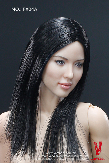 [VCF-X04A] Very Cool Black Straight Hair Headsculpt + VC 3.0 Female Body Set
