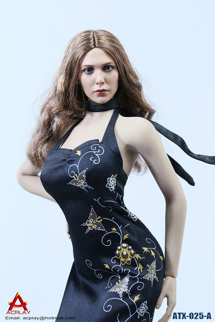 [AP-ATX025A] ACPLAY Black Chinese Qipao Dress for 1/6 Female Figures