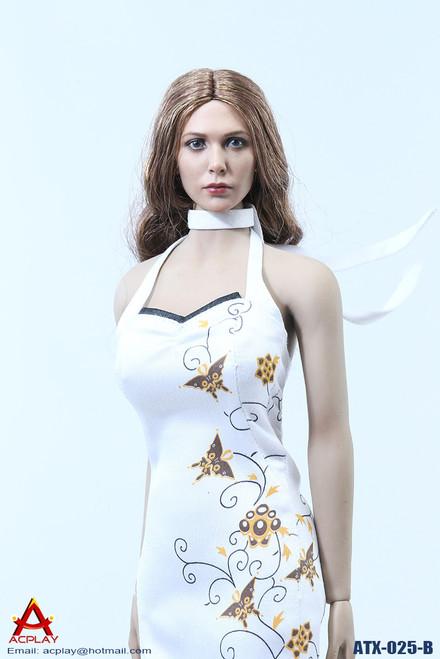 [AP-ATX025B] ACPLAY White Chinese Qipao Dress for 1/6 Female Figures