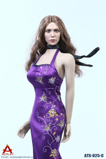 [AP-ATX025C] ACPLAY Purple Chinese Qipao Dress for 1/6 Female Figures