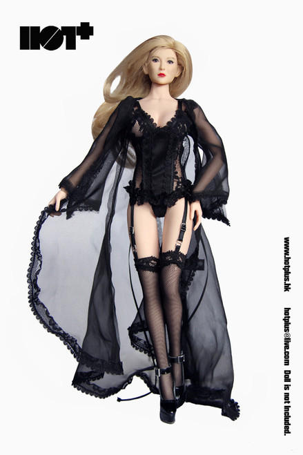 [HP-046] HotPlus Lace Lingerie & High Heels Set in Black for 1/6 Female Figures