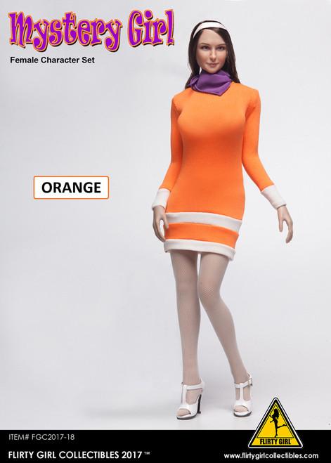 [FGC2017-18] 1:6 Flirty Girl's Orange Mystery Girl Sheath Dress & Head Sculpt