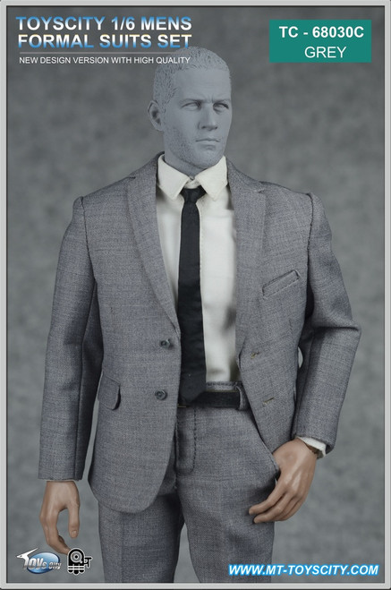 [TC-68030C] 1/6 Toys City Men's Formal Suits Set in Grey