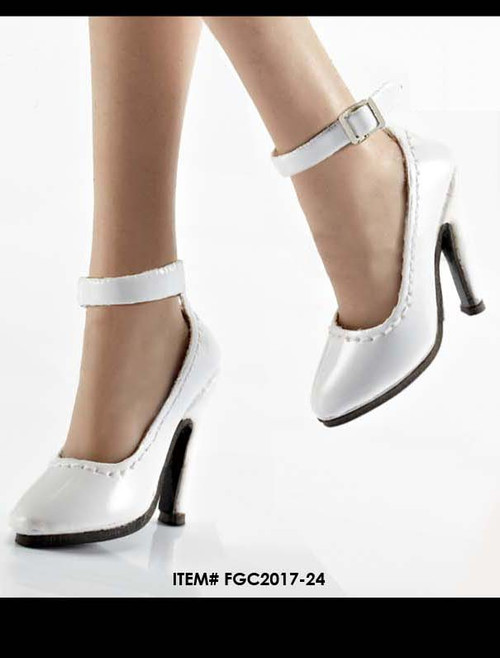 [FGC2017-24] 1:6 Flirty Girl's Hollow White High Heel Shoes (Anna) for Female Figures