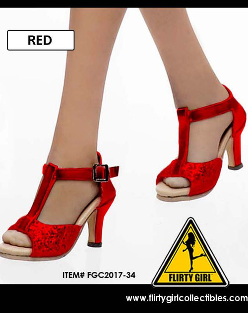 [FGC2017-34] 1:6 Flirty Girl's Hollow Red High Heel Shoes (USO) for Female Figures