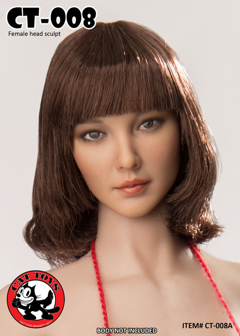 [CAT-008A] 1/6 Cat Toys Rooting Female Character Head for Phicen Suntan Color