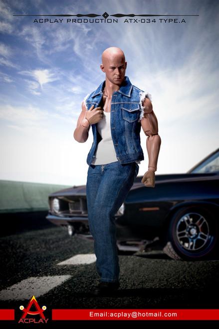 [AP-ATX034A] ACPLAY 1/6 Scale Light Blue Dominic Toretto Muscle Bodies Denim Vest Set