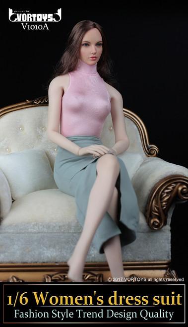 [VOR-1010A] VORTOYS 1/6 Women's Dress & Pink Turtleneck Bodysuit