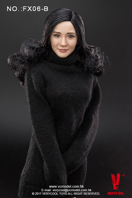 [VCF-FX06B] Very Cool Asian Actress Headsculpt with Black Curly Hair 3.0 1/6 Female Body