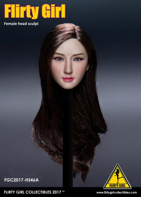 [FGC-HS46A] Flirty Girl's Female 1/6 Head Sculpt with Brown Long Hair