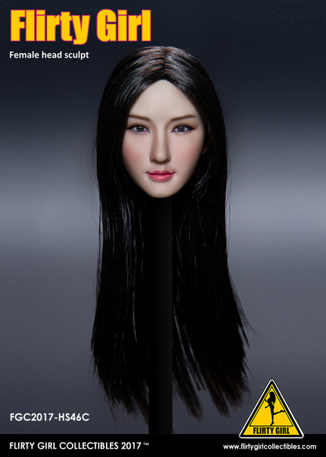 [FGC-HS46C] Flirty Girl's Female 1/6 Head Sculpt with Black Long Hair