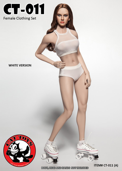 [CAT-0011A] 1/6 Cat Toys White Fitness Female Clothing Set