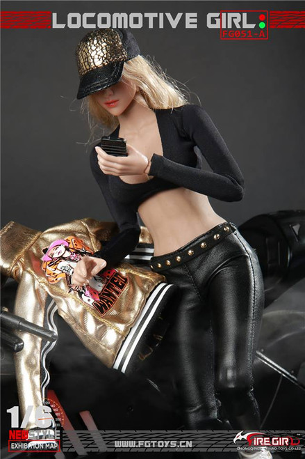 [FG-051A] Fire Girl Toys Gold Locomotive Biker Outfit for 1/6 Female Figures