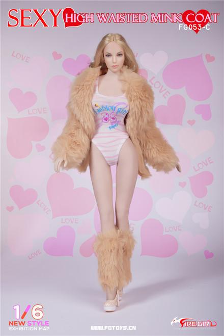 [FG-053C] Fire Girl Toys One Piece Khaki Swimsuit Set for 1/6 Female Doll