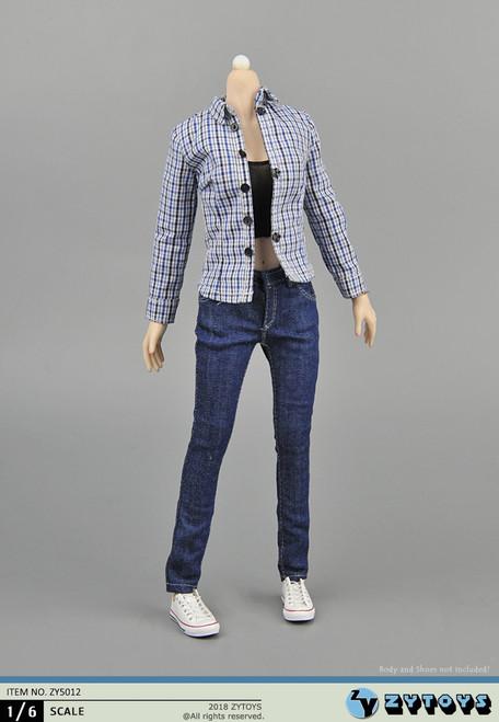 [ZY-5012] ZY TOYS 1/6 Plaid Shirt & Jeans Female Figure Accessory