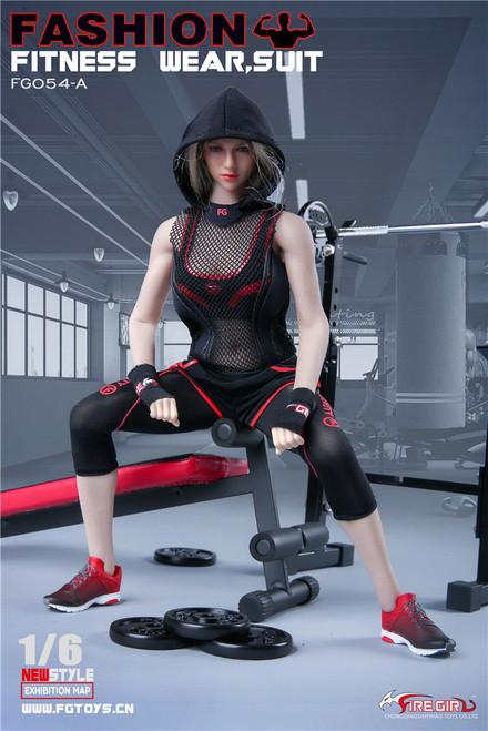 [FG-054A] Fire Girl Toys Fashion 1/6 Women Fitness Wear in Black