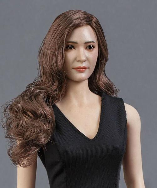 [GAC-014A] GACTOYS 1/6 Asian Women's Head Sculpture in Brown