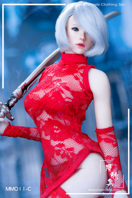[MM-11C] Manmodel 1/6 MISS 2B's Lace Cheongsam in Red