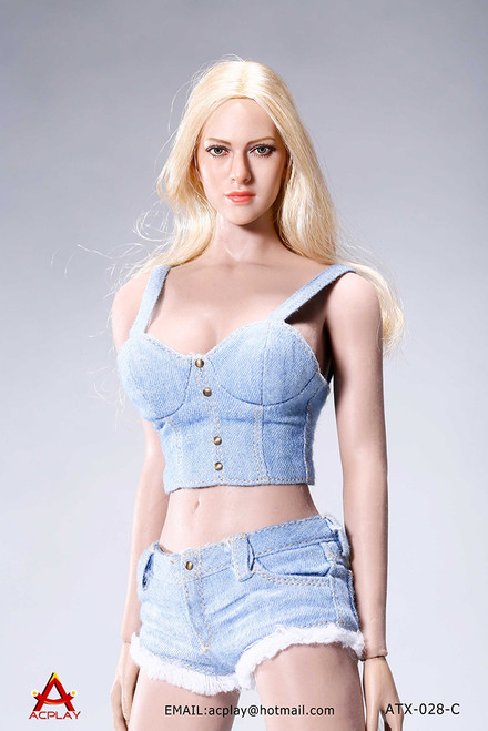 [AP-ATX028C] ACPLAY Light Blue 1/6 Hot Sun-top and Denim Shorts Set