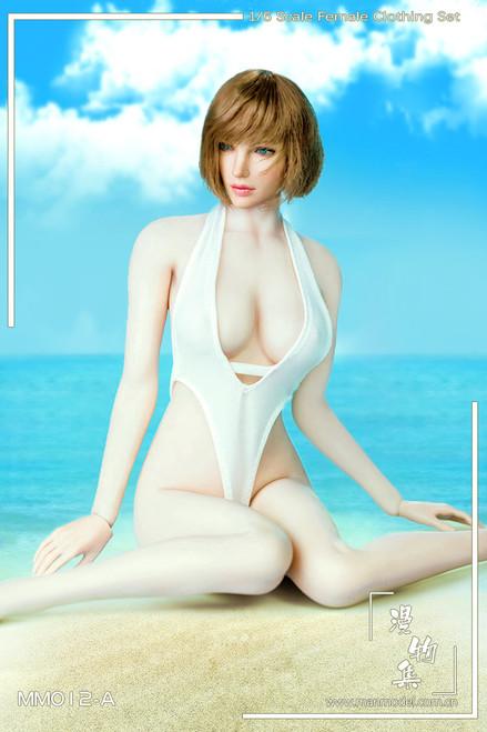 [MM-012A] Manmodel 1/6 White One-piece Low-cut Swimwear