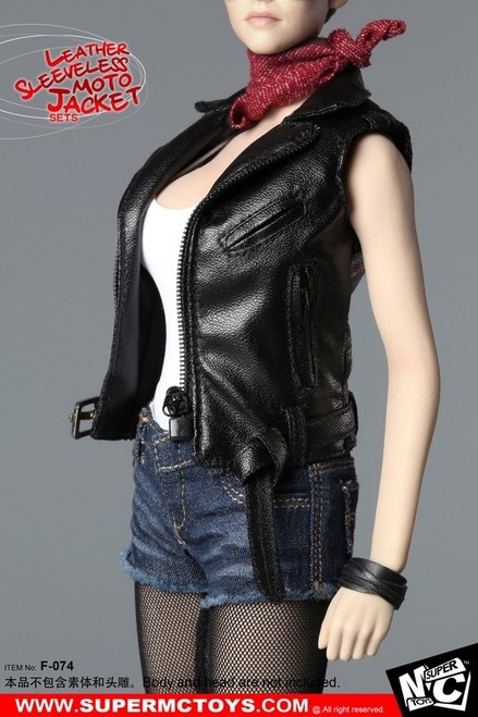 [MC-F074] Super MC Toys 1/6 Women Leather Sleeveless Moto Jacket Set