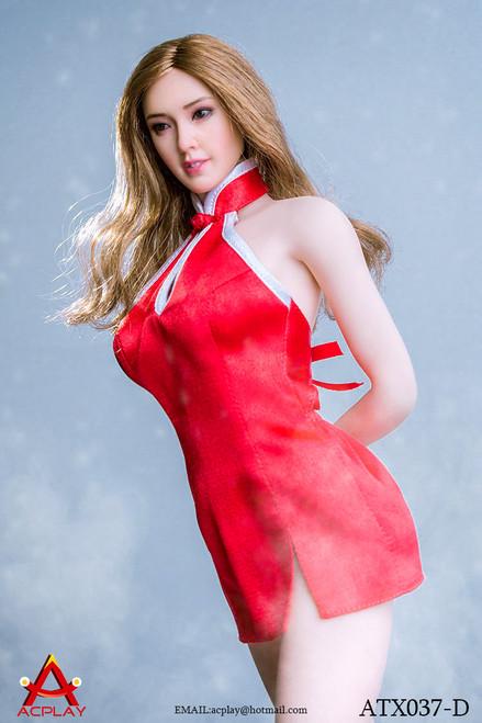 [AP-ATX037D] ACPLAY 1/6 Red Mini Cheongsam & High Heel Set