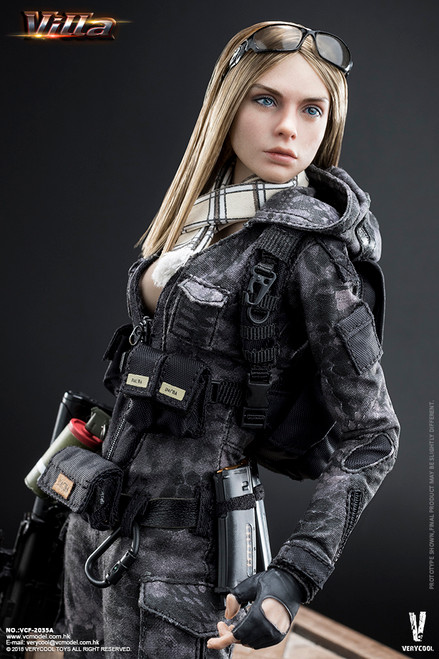 [VCF-2035A] Very Cool Police Black Python Stripe Camouflage Villa Sister 1/6 Figure