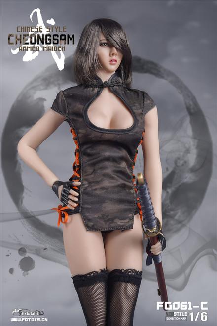 [FG-061C] Fire Girl Toys 1/6 Black CP Camouflage Combat Cheongsam