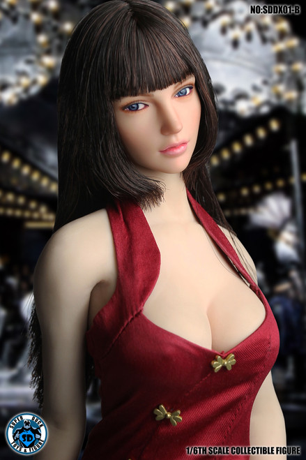 [SUD-DX01B] 1/6 Dark Brown Hair Headsculpt with Movable Eye Ball by Super Duck