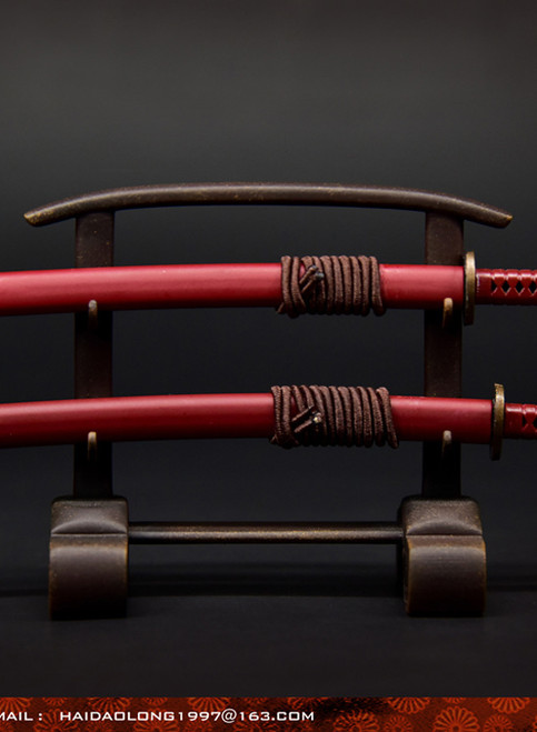 [WK-88004B] Wolf King 1:6 Red Japanese Swords Katana with Stand
