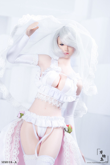 [MM-018A] 1/6 White Two-dimensional Sexy Flower Wedding Dress by Manmodel
