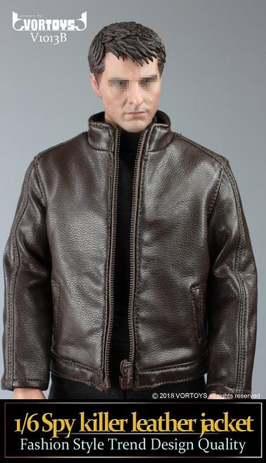 [VOR-1013B] Brown Spy Killer 1/6 Figure Leather Jacket by VORTOYS