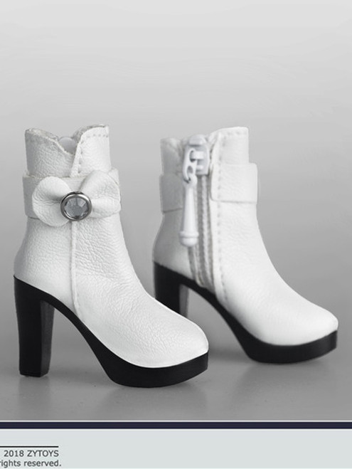 [ZY-1011B] 1:6 White Ankle Boots with Bowtie by ZY Toys