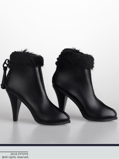 [ZY-1012A] 1:6 Black Ankle Boots with Fur by ZY Toys